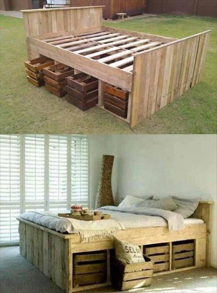 Camas com paletes de madeira 2