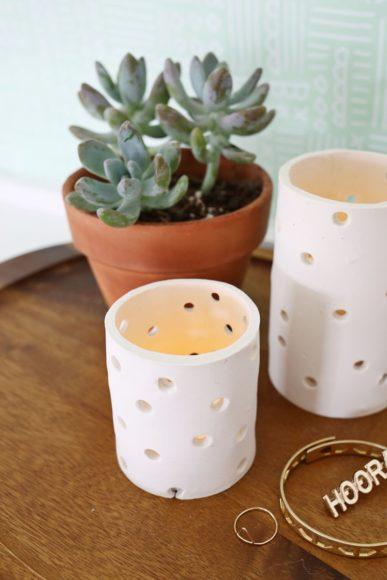 Porta velas argila 1