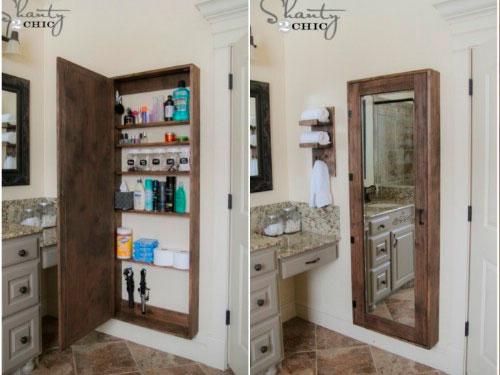 Banheiros Pequenos 8 Ideias para decoração rústica -> Armario Banheiro Rustico