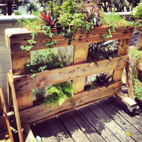 rolling-pallet-planter-with-A-frame-legs