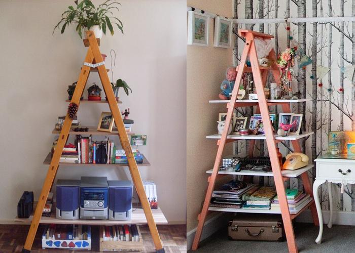 estante feita de escadas
