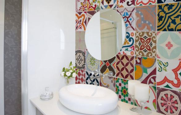 decoração com adesivo de azulejo